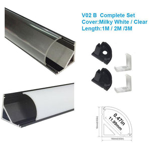 5/10/25/50 Pack Black V02 16x16mm V-Shape Curved Cover Channel Internal Width 12mm Corner Mounting LED Aluminum Channel with End Caps and Mounting Clips Aluminum Profile