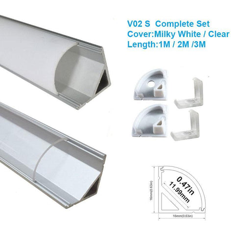 Image of 5/10/25/50 Pack Silver V02 16x16mm V-Shape Curved Cover Channel Internal Width 12mm Corner Mounting LED Aluminum Channel with End Caps and Mounting Clips Aluminum Profile
