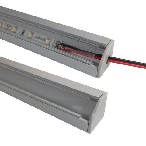 Image of 5/10/25/50 Pack Silver V03 18x18mm V-Shape Internal Width 12mm Corner Mounting LED Aluminum Channel with Oyster White Cover, End Caps and Mounting Clips for Flex/Hard LED Strip Light