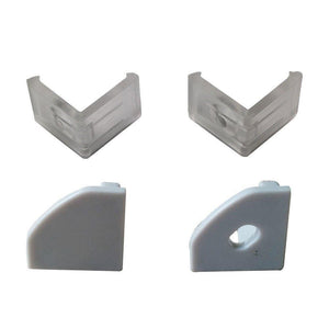 5/10/25/50 Pack Silver V03 18x18mm V-Shape Internal Width 12mm Corner Mounting LED Aluminum Channel with Oyster White Cover, End Caps and Mounting Clips for Flex/Hard LED Strip Light
