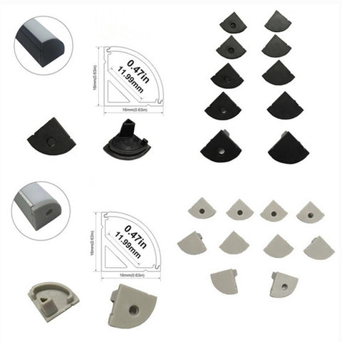 Image of 10pcs/5 Pair-Pack End Caps for LED Aluminum Channel