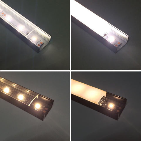 Image of 5/10/25/50 Pack Black U02 9x17mm U-Shape Internal Profile Width 12mm LED Aluminum Channel System with Cover, End Caps and Mounting Clips for LED Strip Light Installations