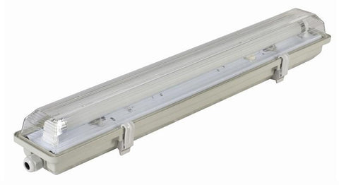 Image of Stripe Clear  Cover T8 LED Tube Lights with Striped Clear Tri-proof  T8 Tube Fixture for Single Tube