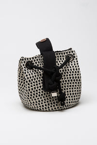 Mini Handbag in Treccia di Viscosa Black & Ghiaccio
