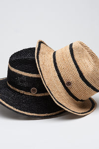 Borsalino in Raffia Crochet Black & Natural