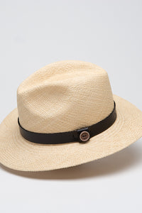 Fedora in Panama con Cinturino in Pelle e Passante Laterale Natural & Black