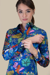Camicia di seta blu jungle