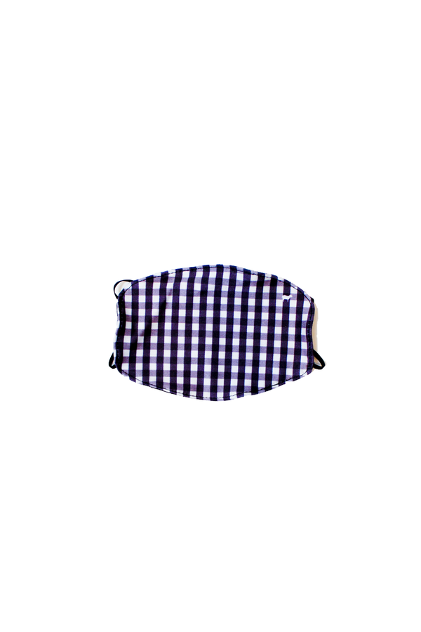 Kids Black Gingham Face Mask