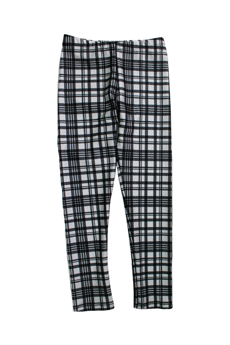 Black and White Plaid Kids Legging