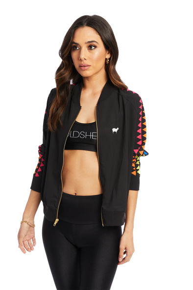 Triangle Rainbow Black Bomber Jacket
