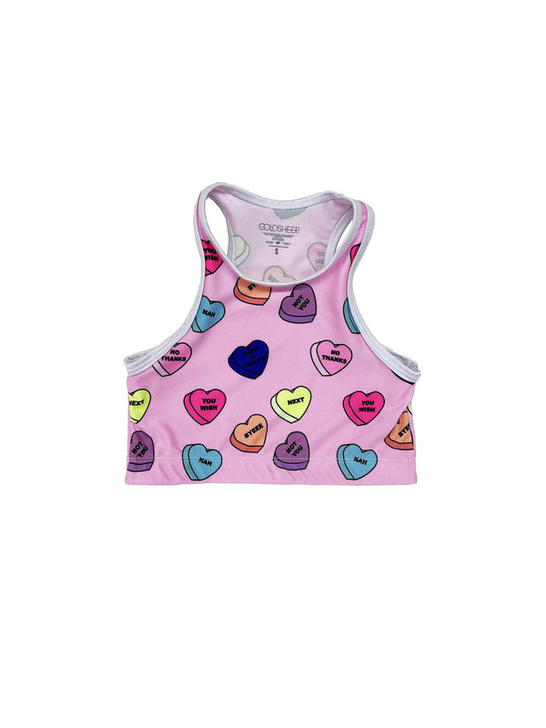 Pink Candy Hearts Kids Crop Top