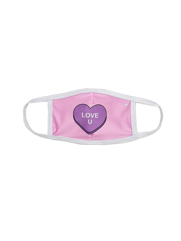 Pink Candy Heart Face Mask