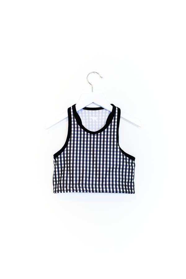 Black Gingham Crop Top Kids