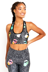 Black Rainbow Mouth Sports Bra