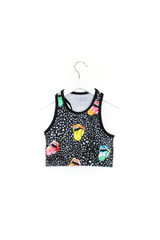 Black Rainbow Mouth Crop Top Kids