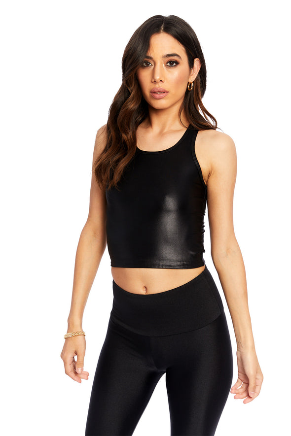 Black High Shine Extended Crop Top