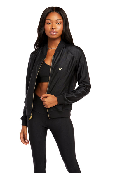Black Sparkle Bomber Jacket