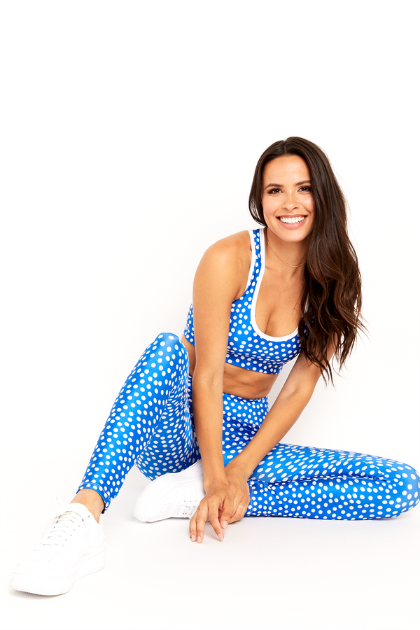 Blue Polka Dot Sports Bra