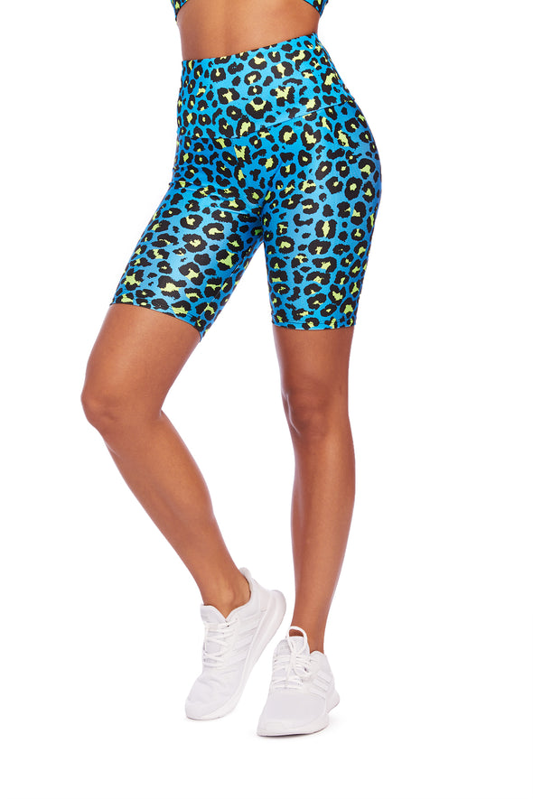 Neon Blue Cheetah Biker Shorts
