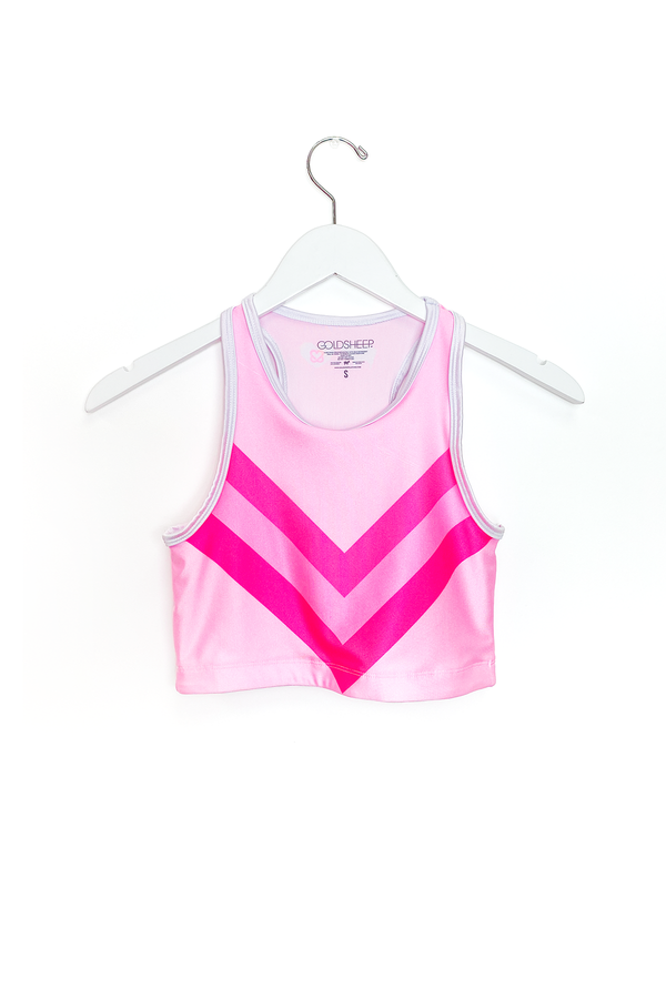 Neon Pink Chevron GS x KAB Crop Top