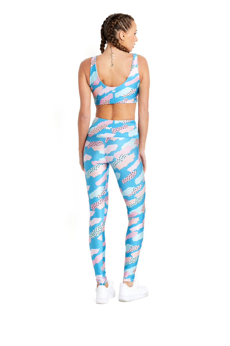 Blue & Pink Paint Strokes Legging