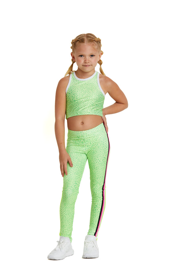 Neon Green Spot Stripes Kids Legging