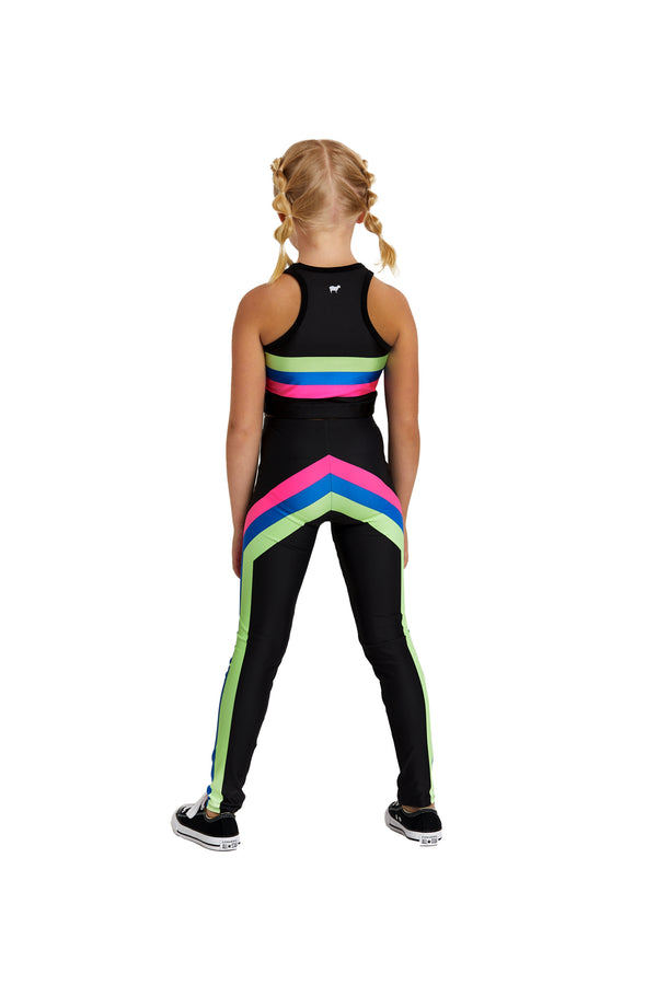 Neon Edge Stripe Kids Crop Top