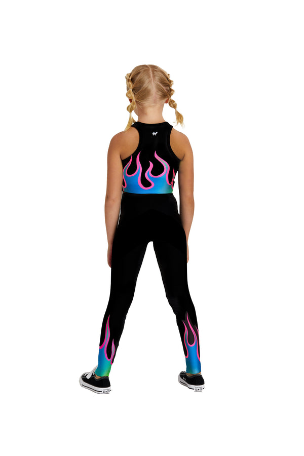 Neon Blue Flames Kids Legging