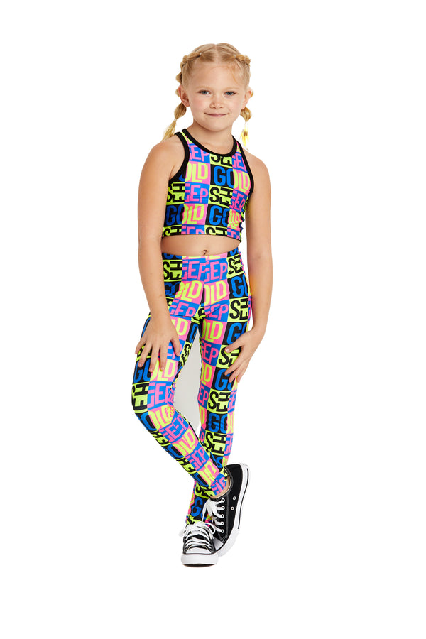 Neon Goldsheep Kids Crop Top