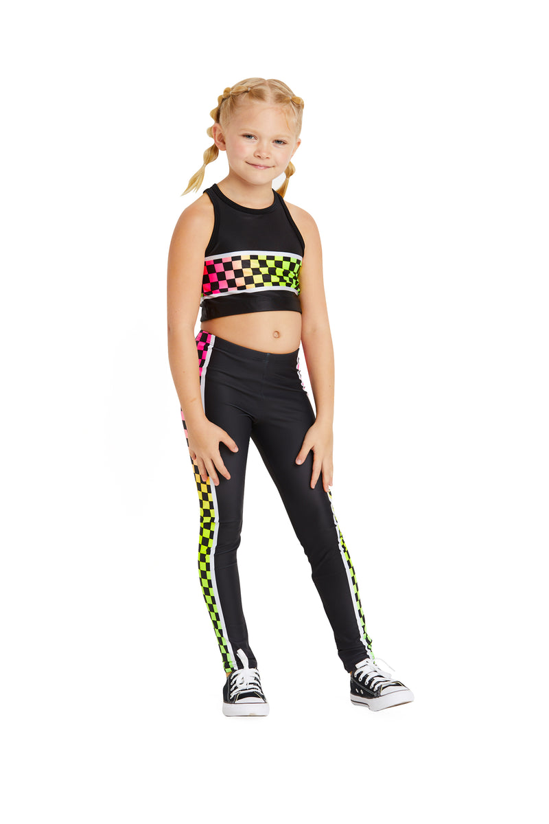 Neon Checker Stripe Kids Crop Top