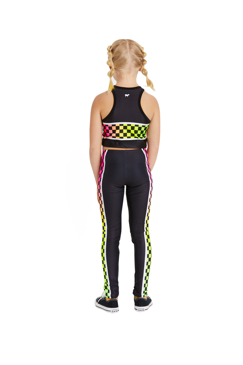 Neon Checker Stripe Kids Legging