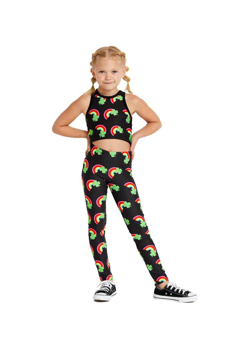 Neon Rainbow Clover Kids Crop Top