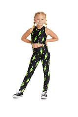 Neon Green Bolts Kids Legging