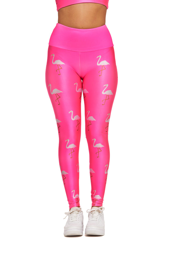 Mini Neon Flamingos Pink Legging