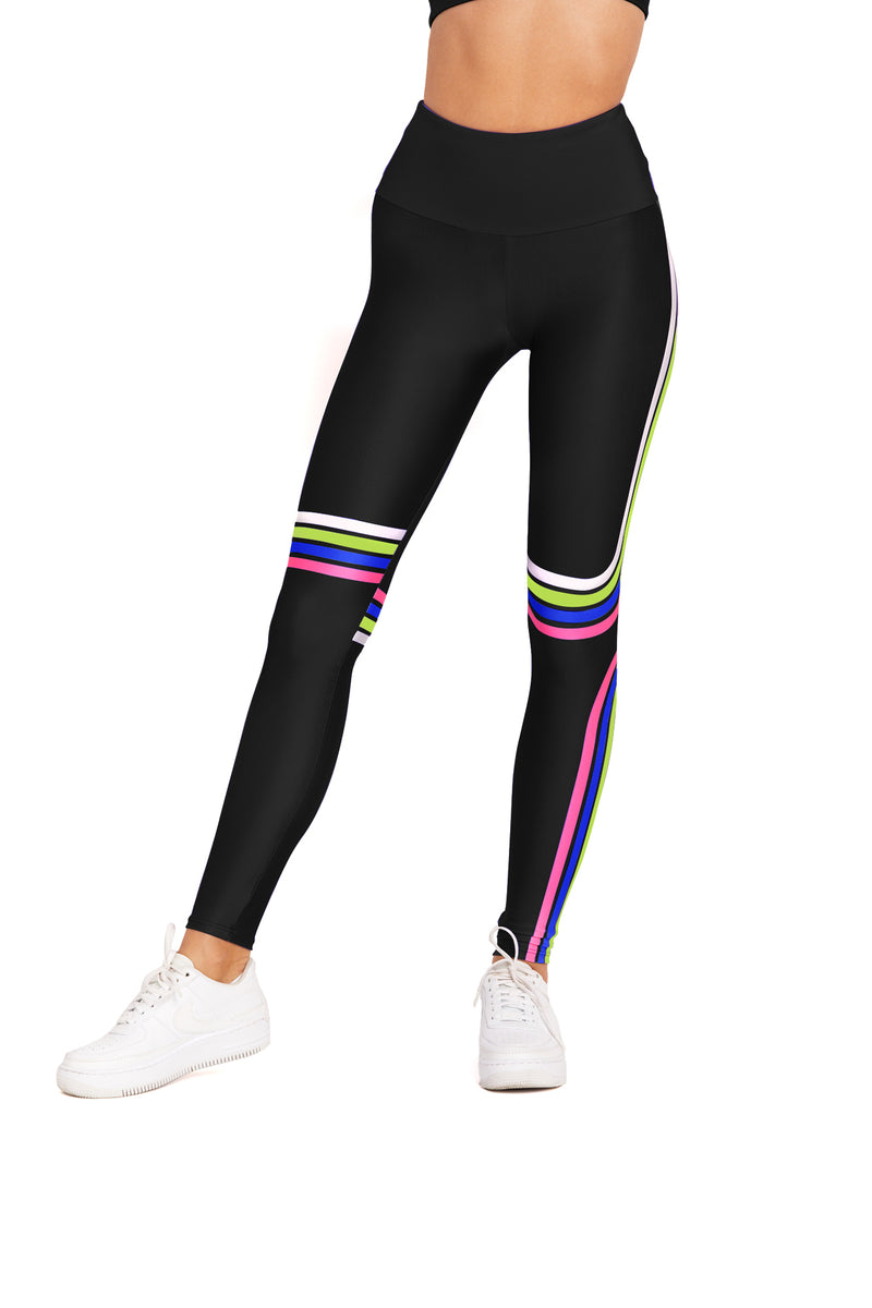 Black Retro Stripe Legging