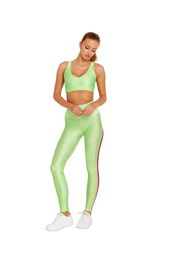 Neon Green Spot Stripes Legging