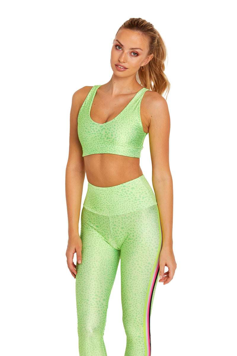 Neon Green Spot Stripes U-Bra