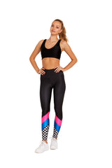 Checker Stripe Blue Legging