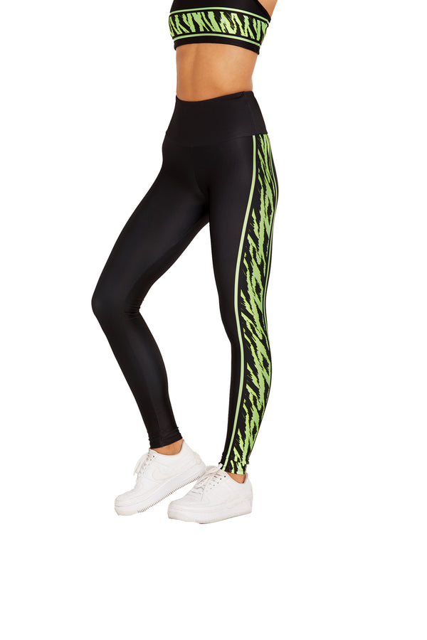 Neon Green Tiger Stripe Legging