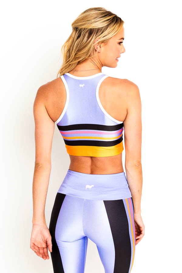 Lavender Color Block Crop Top
