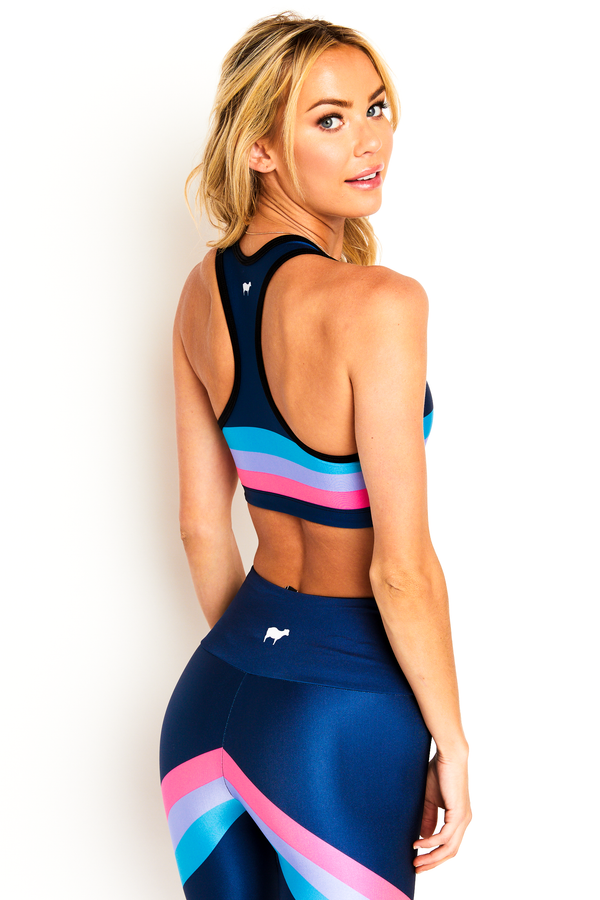 Navy Edge Stripe Sports Bra