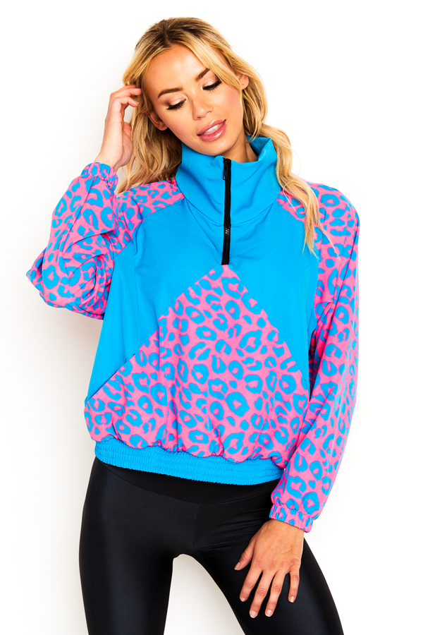 Neon Snow Leopard Windbreaker