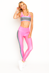 Checkered Ski Racer Pink Legging