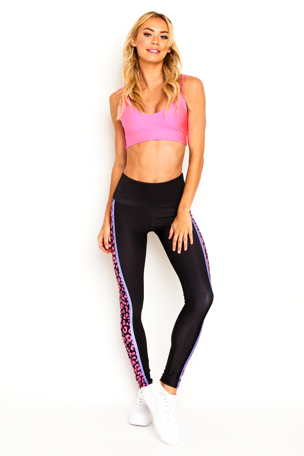 Neon Pink Cheetah Stripe Legging