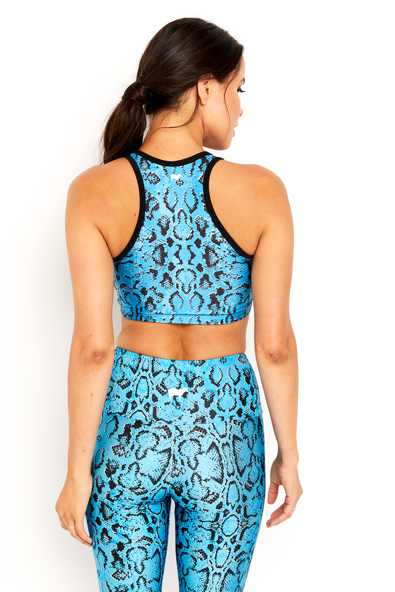 Neon Blue Snake Skin Crop Top