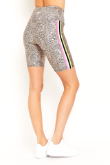 Neon Spot Stripes Biker Shorts