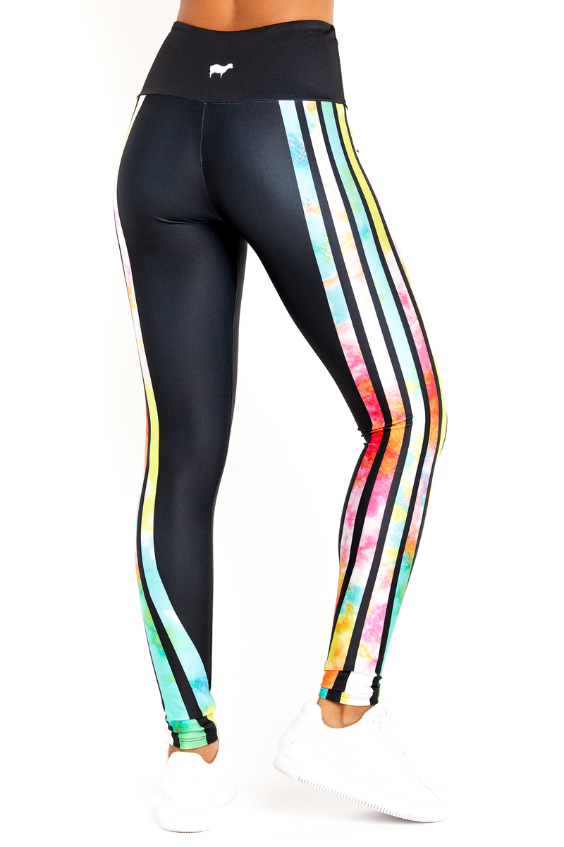 Neon Tie Dye Stripes Legging