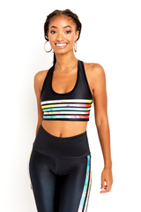 Neon Tie Dye Stripe Sports Bra