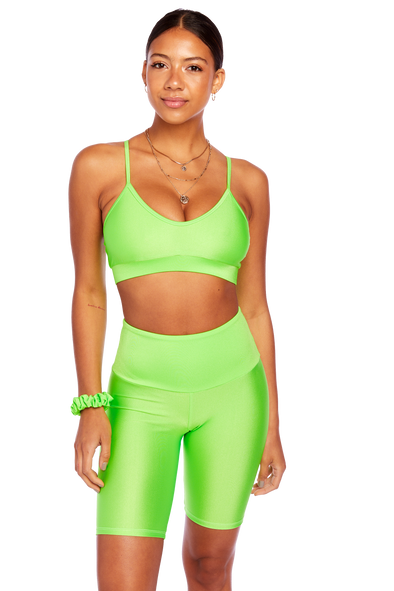 Basic Neon Green V Neck Bralette