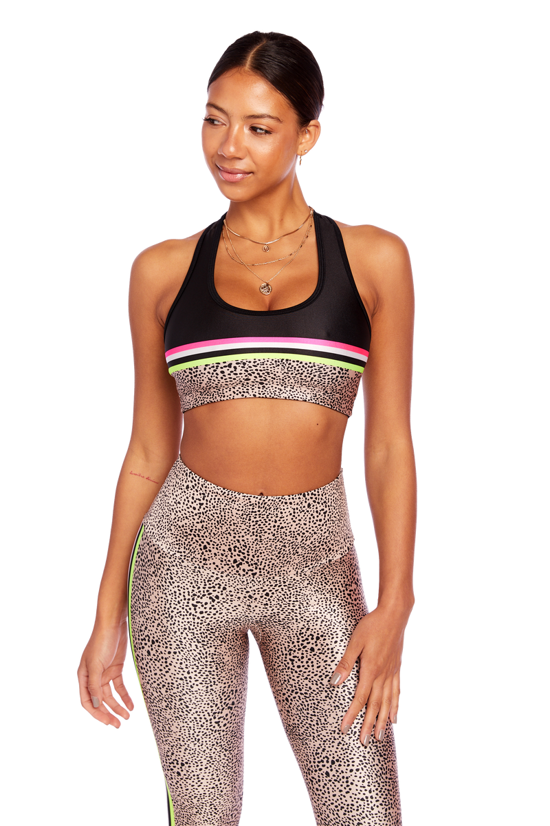 Neon Spot Stripes Sports Bra